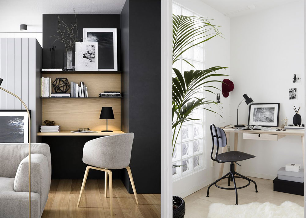 Monochrome Black and White Scandinavian Office Decor Inspiration