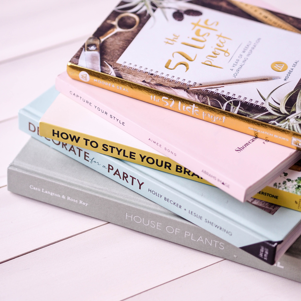 THE 52 LISTS PROJECT BOOK REVIEW, CAPTURE YOUR STYLE BOOK REVIEW, HOW TO STYLE YOUR BRAND BOOK REVIEW, DECORATE FOR A PARTY BOOK REVIEW AND HOUSE OF PLANTS BOOK REVIEW