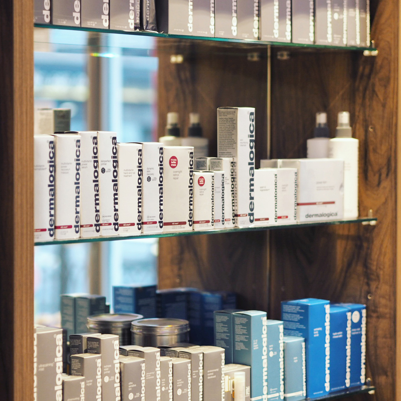 Salon shelves filled with Dermalogica products