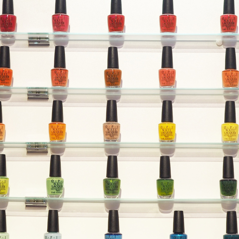 A wide range of OPI nail varnishes available at Q61 Studio Leeds