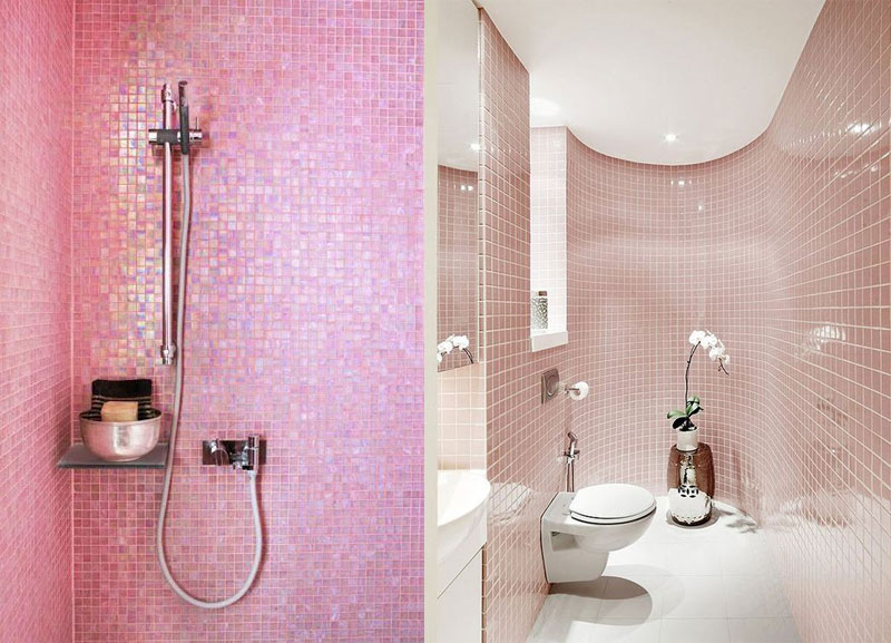 Pink tiled wet room
