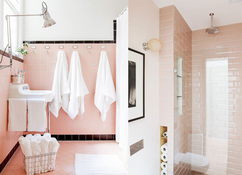 Pink tiled bathroom with white and black detailing