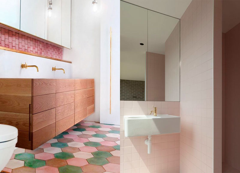 Pink honeycomb tiles in the bathroom