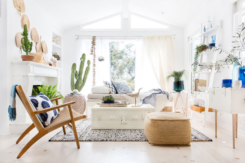 Bohemian blue and white living room