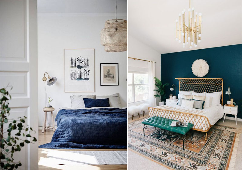 Blue and white bohemian bedroom ideas