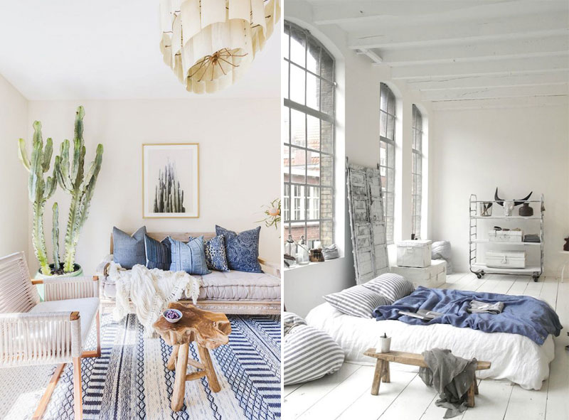 Blue and white bohemian bungalow