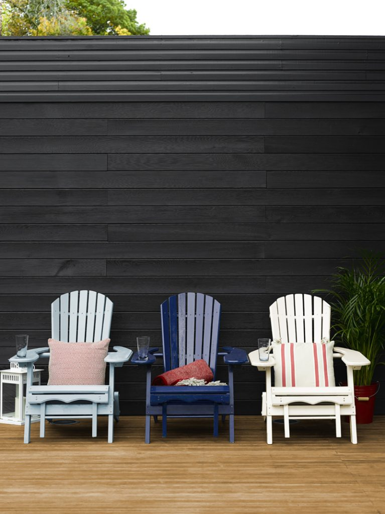 Upcycled deckchairs in outdoor dining area