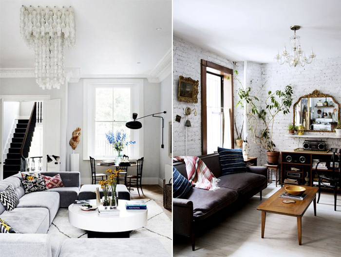 Maximalist room with statement furniture and chandelier