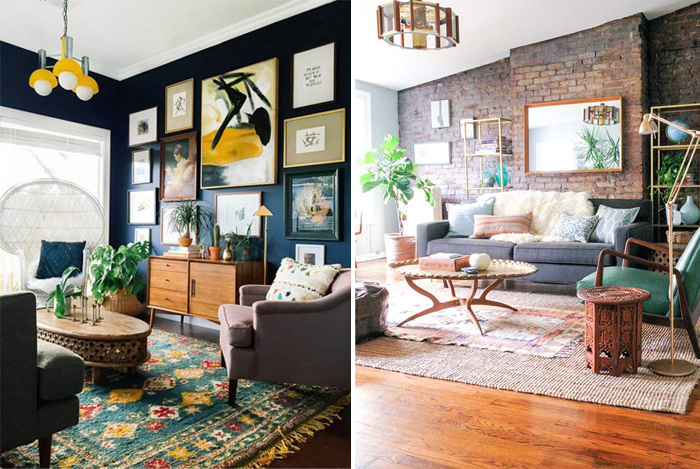 eclectic living room with dark walls and statement furniture