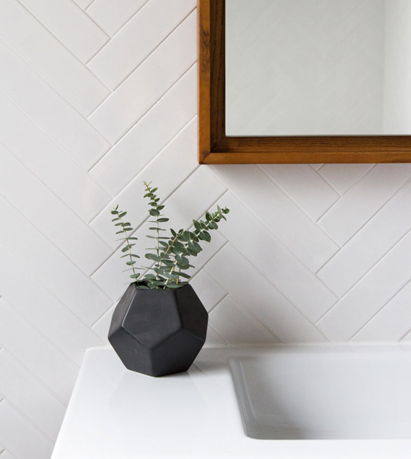 chevron white tiles for bathroom