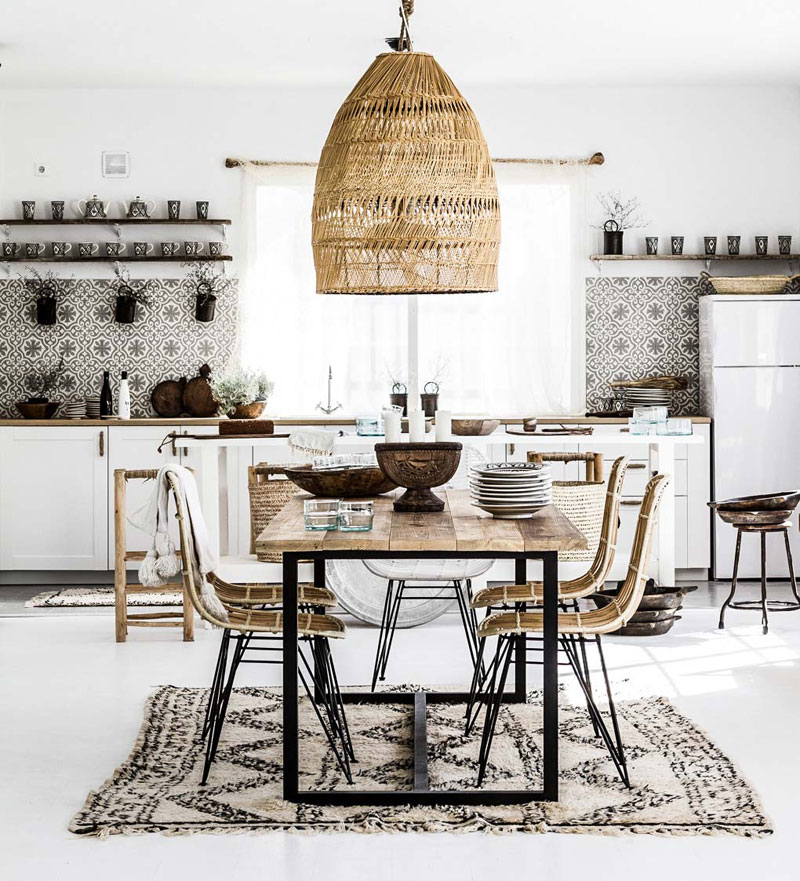 Scandinavian bohemian dining room