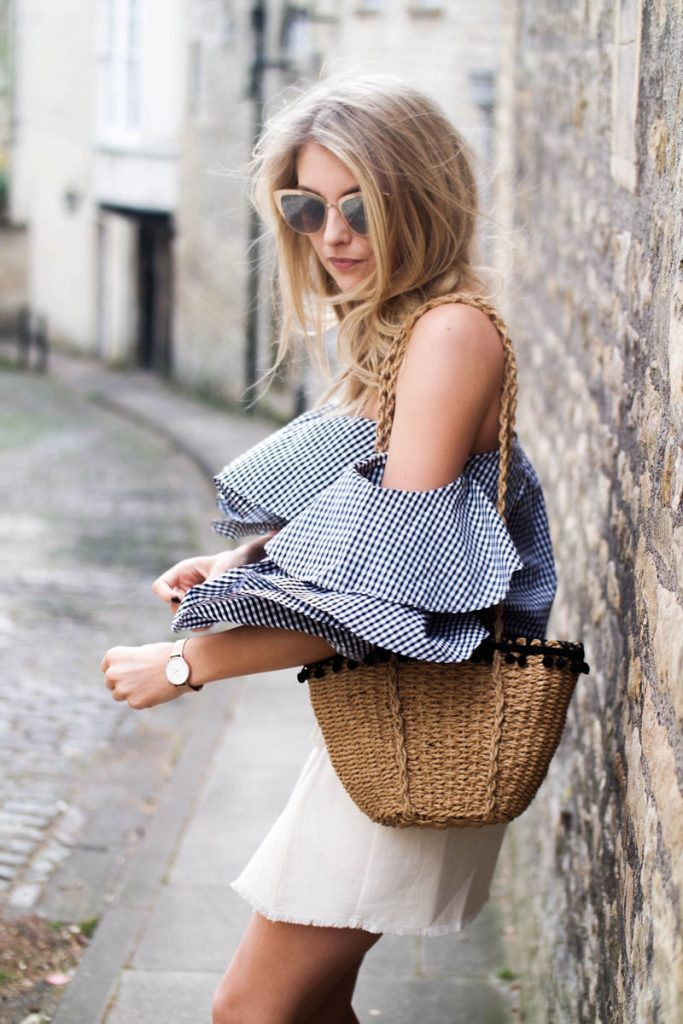 Bardot top white skirt and basket bag