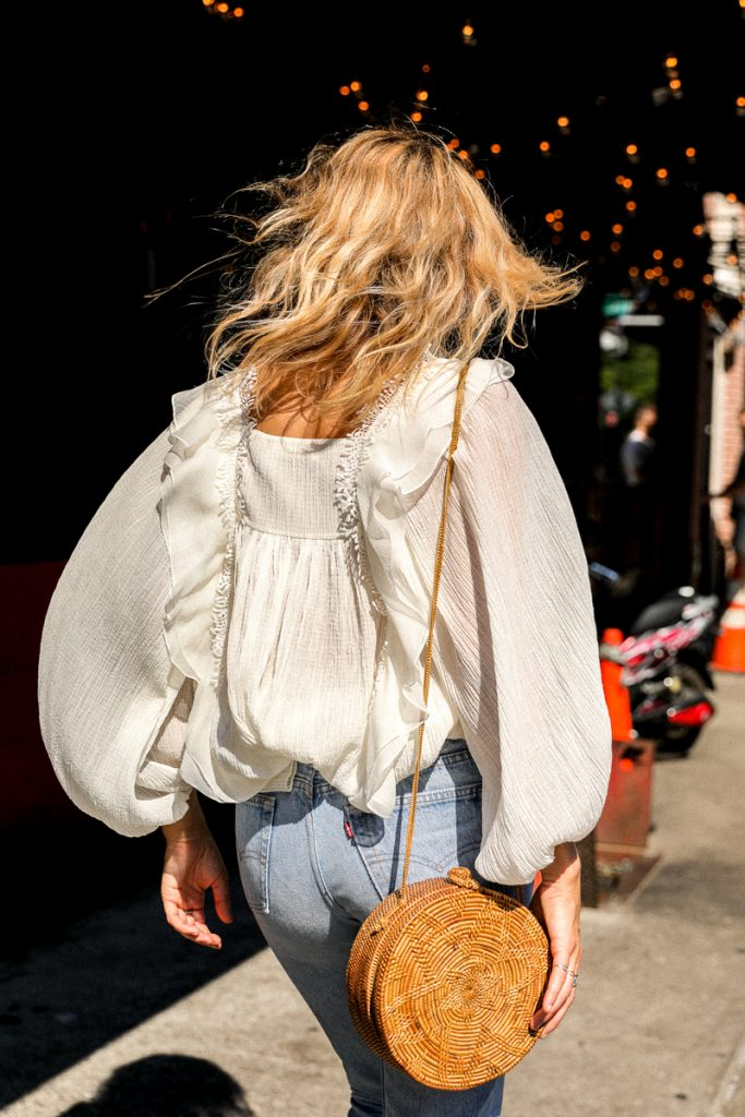 Lucy Williams with basket bag and boho top
