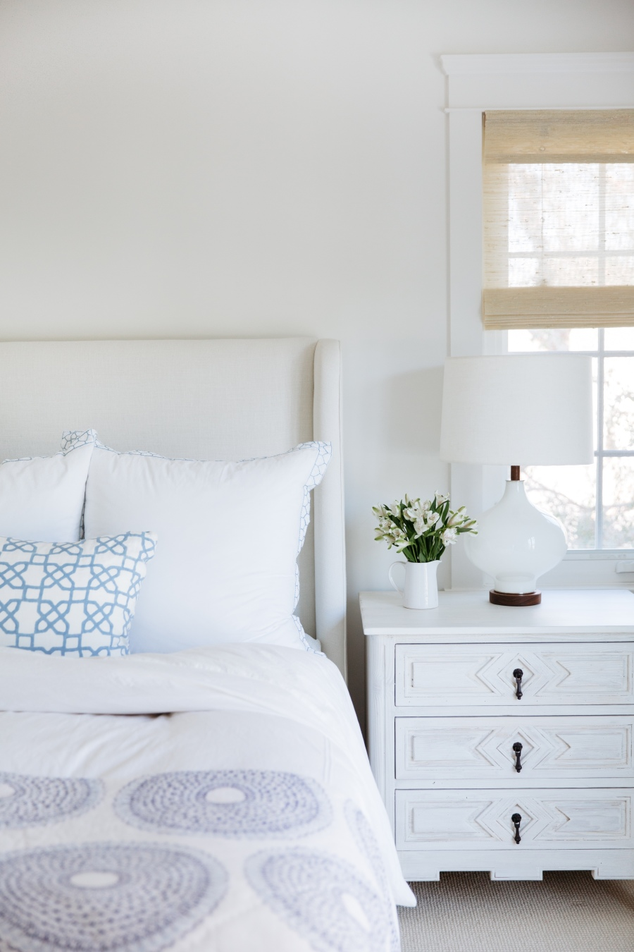 Blue and white Californian bedroom interiors design