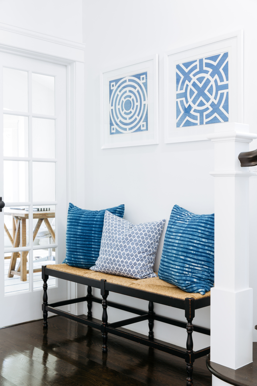 Blue and white Californian interior design