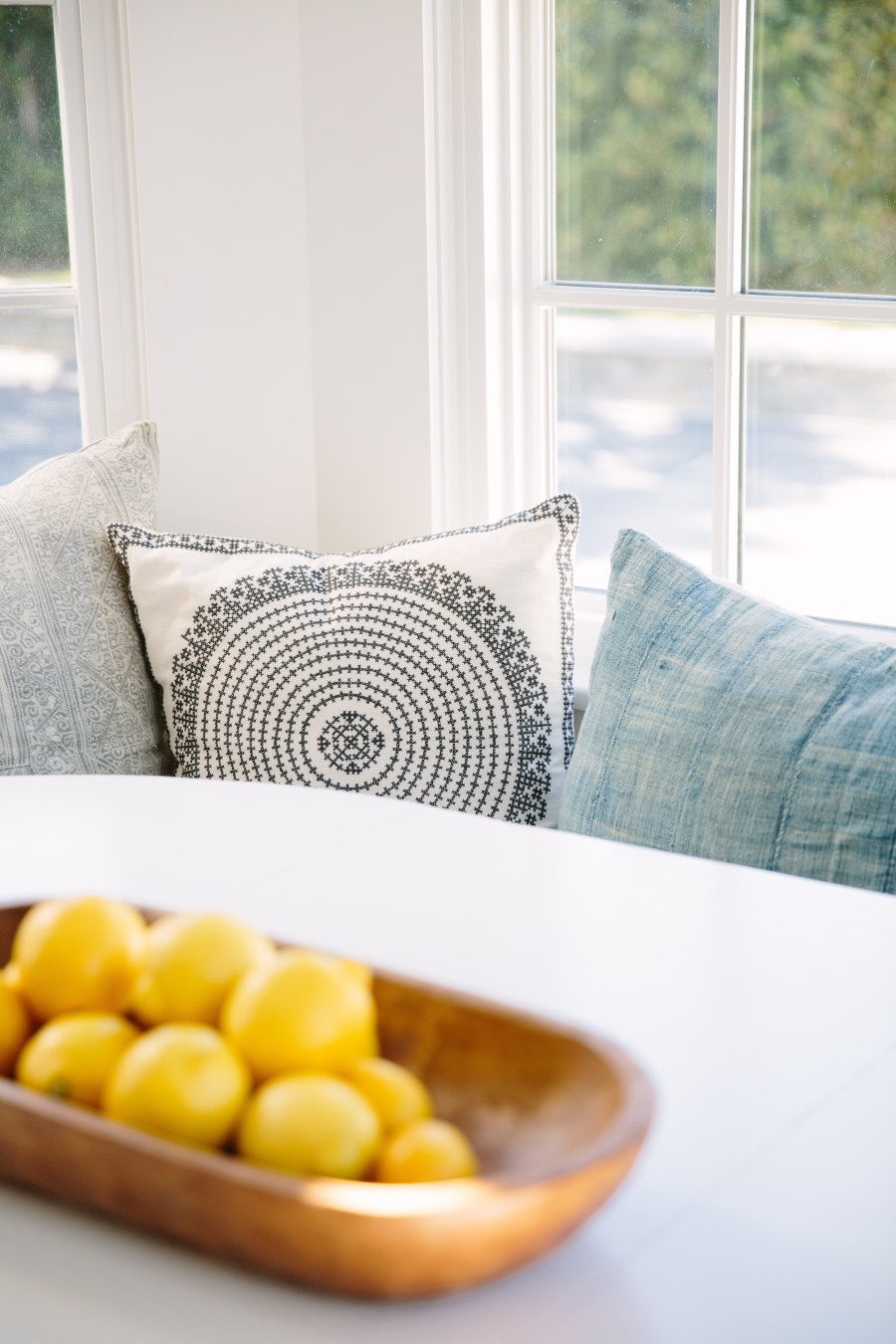 Blue and white vintage cushions