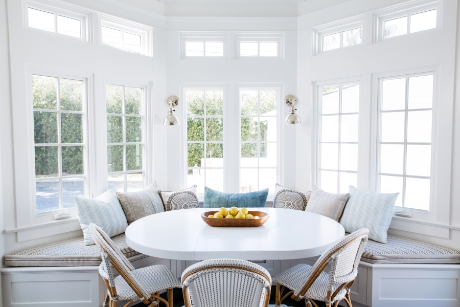 Large bay window with built in seating