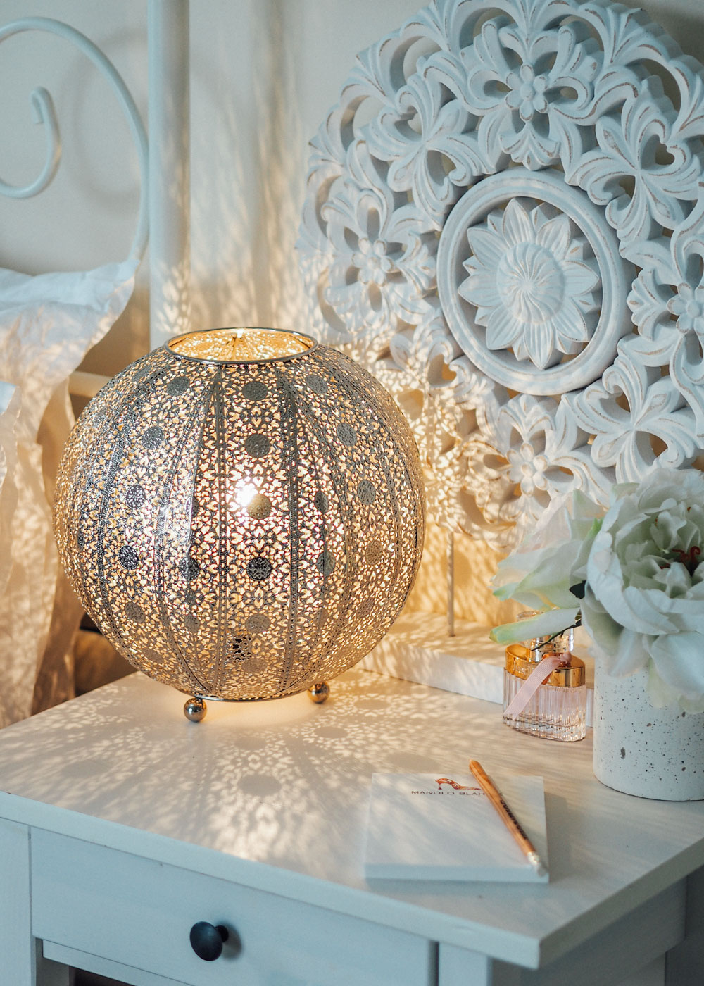 Silver Moroccan Bedside Lamp