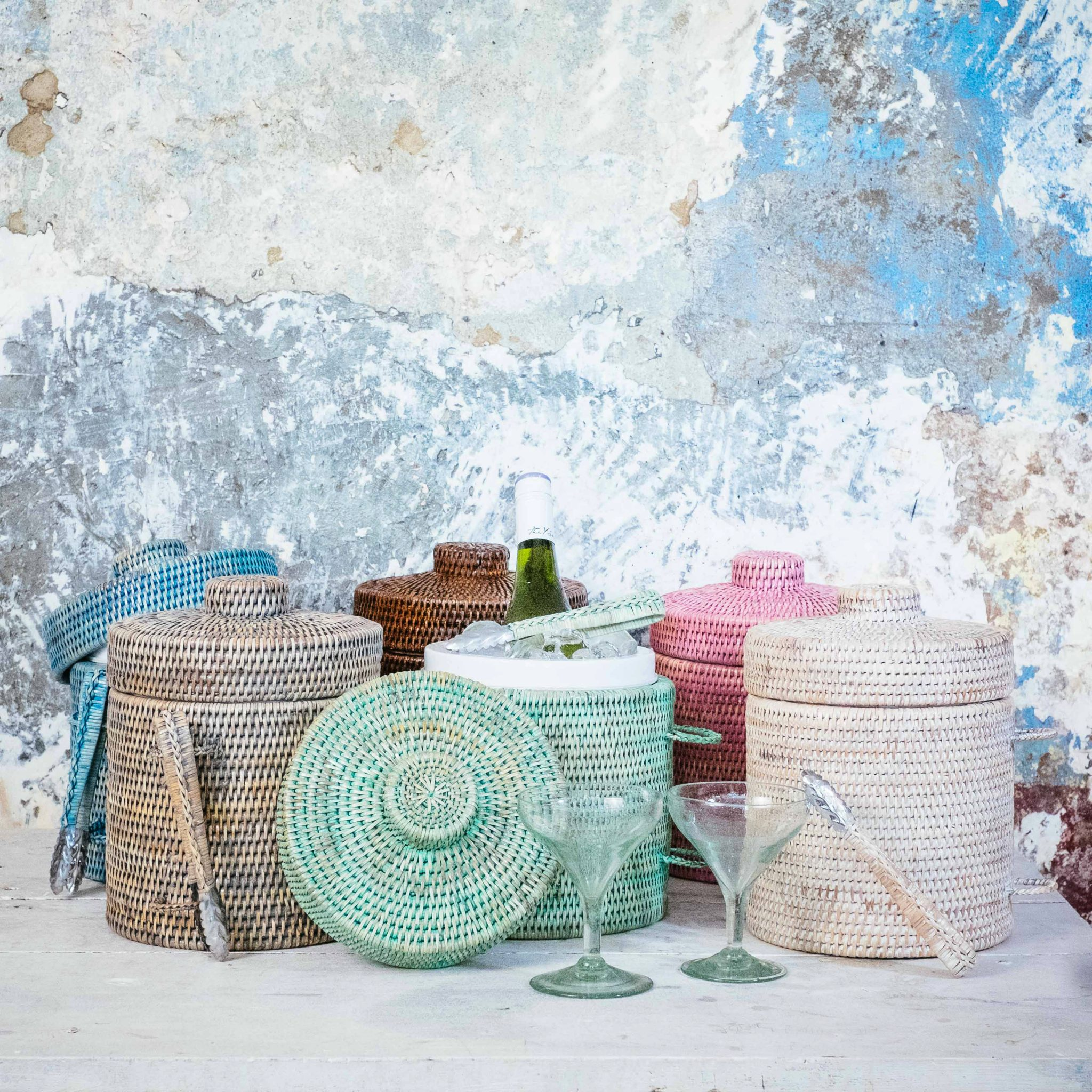 Woven ice buckets from Burmese homeware brand Kalinko