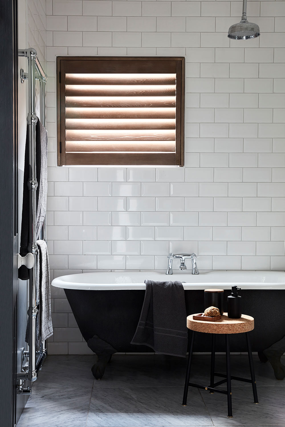 Wooden shutters in the bathroom