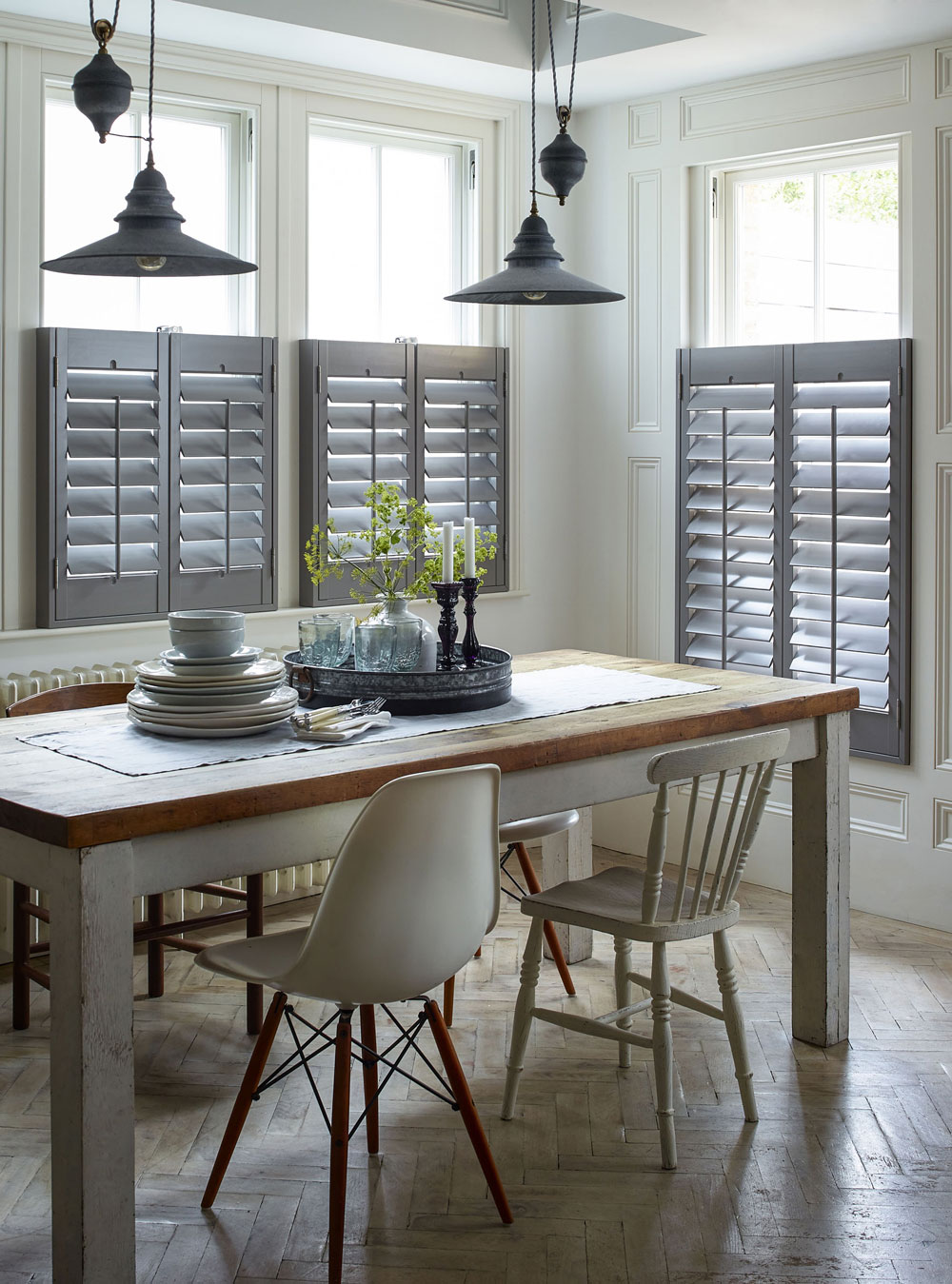 Cafe style shutters in a rustic farm kitchen