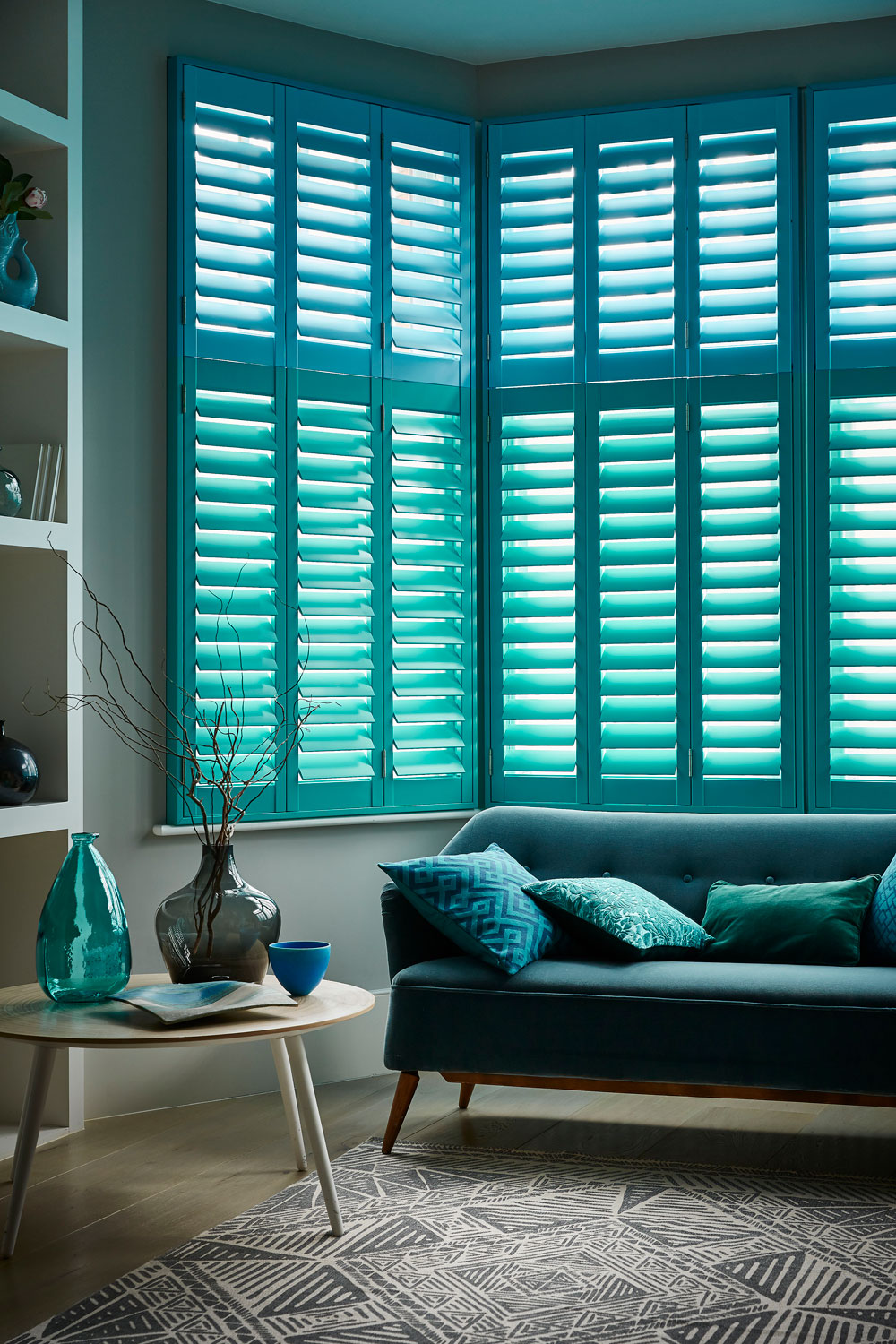 Two tone blue plantation shutters