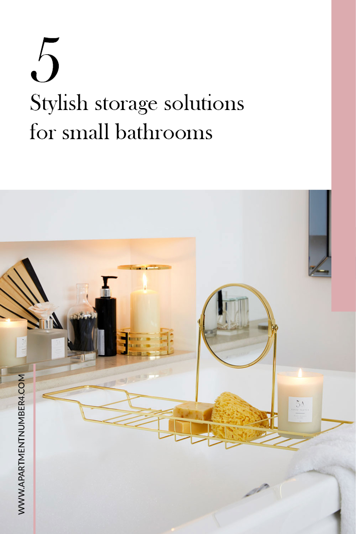 Today I'm sharing stylish storage solutions and ideas for small bathrooms, whether you rent or you've bought your own place #bathroomstorage #bathroom #storageideas #smallbathroom
