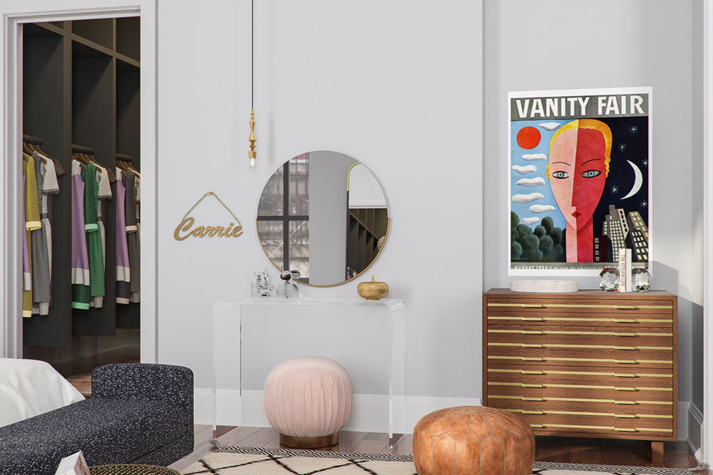 Get the look of Carrie Bradshaw's apartment with this easy guide. Today I'm sharing Carrie's imaginary home tour and how to get the same interior design of her 2018 New York apartment.