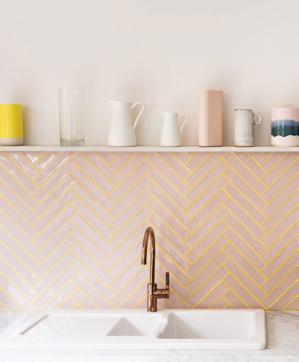 My future kitchen renovation ideas are over on the blog, including peach gloss tiles in a herringbone pattern.