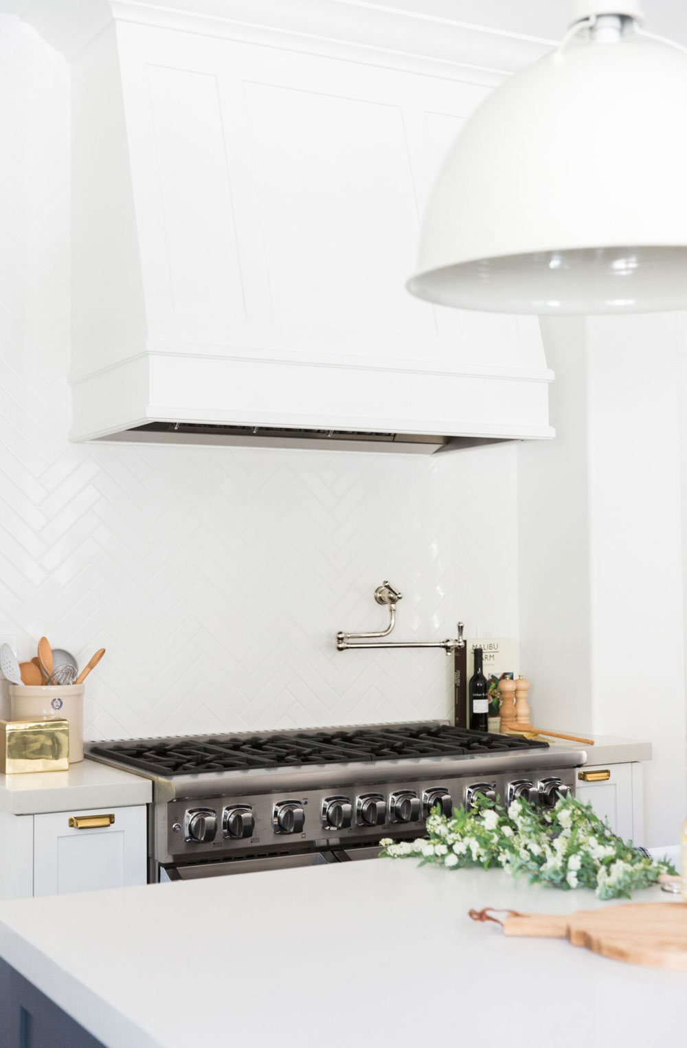 My future kitchen renovation ideas are over on the blog, including white gloss tiles in a herringbone pattern and white grouting.