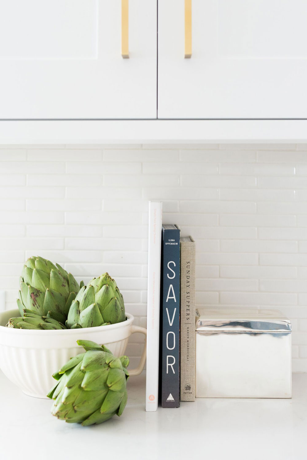 My future kitchen renovation ideas are over on the blog, including white shaker style cabinets and glass open shelving.