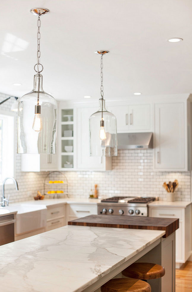 My future kitchen renovation ideas are over on the blog, including glass pendant lighting over the quartz island.