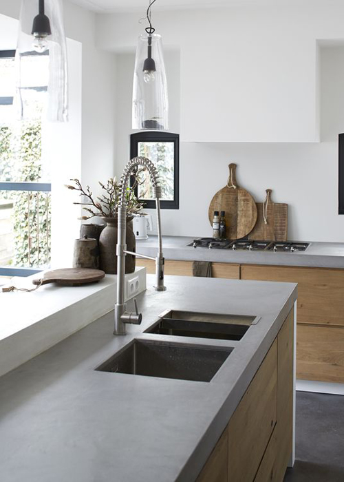 Kitchen with concrete worktops