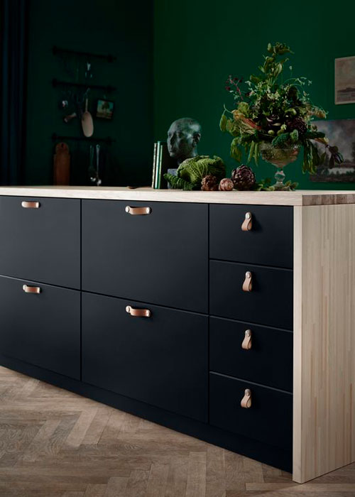 black Ikea kitchen cabinets