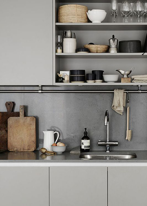 Grey Nordic inspired kitchen with open shelving