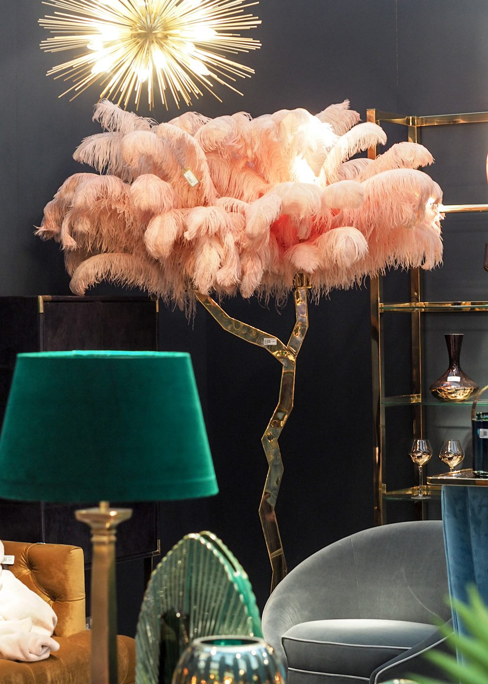 Pink feather ostrich light
