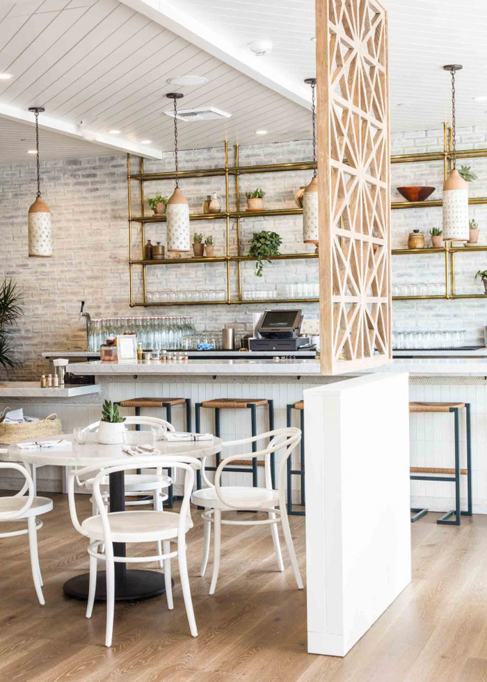 The interior design of plant-based Cafe Gratitude in Los Angeles