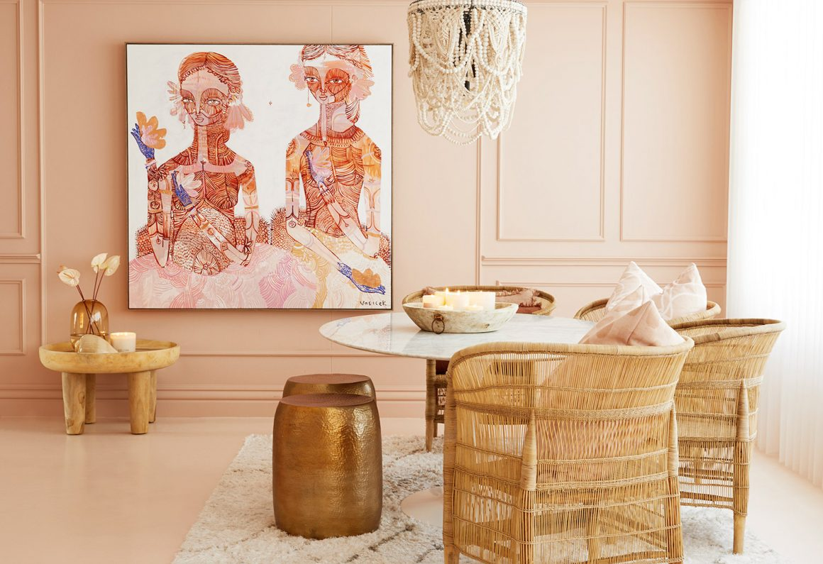 Pink, nude, gold and rattan office interior design inspiration
