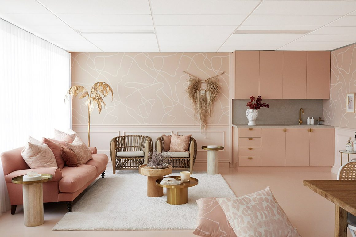 Pink, nude, gold and rattan office makeover interior design inspiration