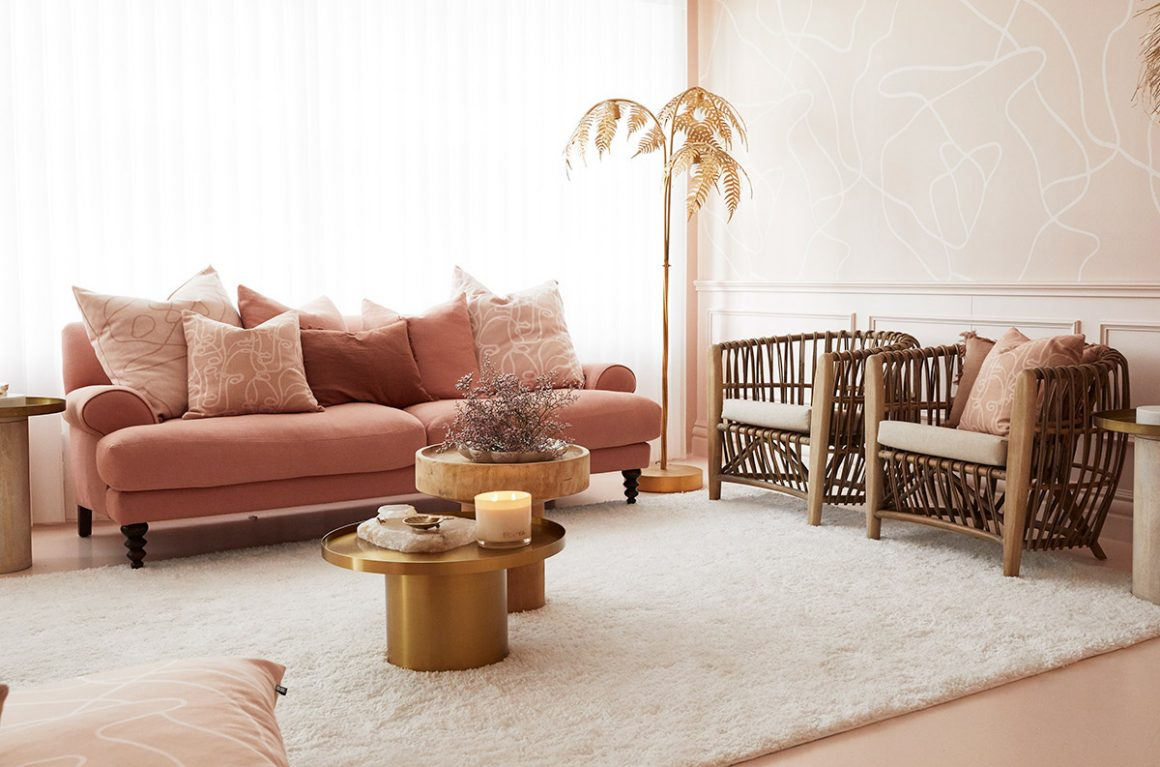 Pink, nude and gold office decor inspiration