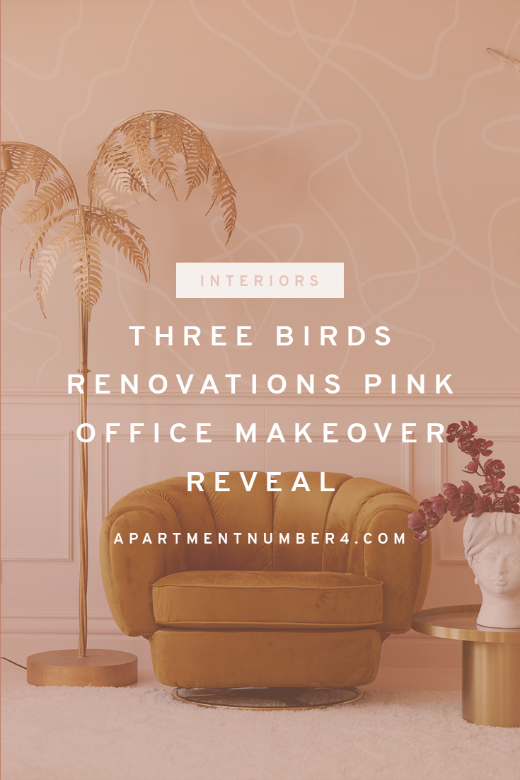 Pink, nude, gold and rattan office makeover