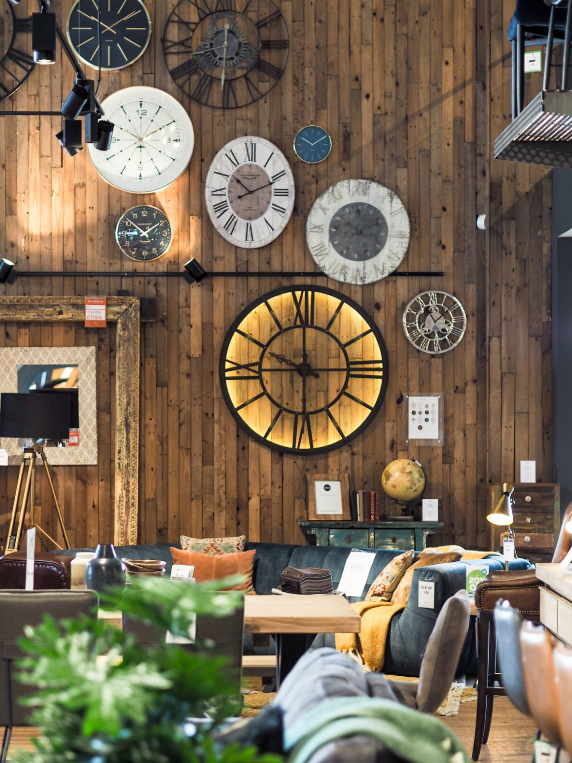 Gallery wall with clocks