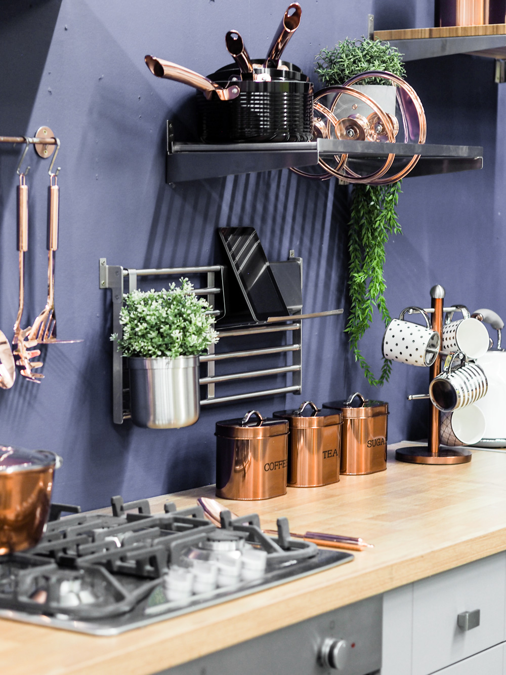 Copper and blue kitchen inspiration from Studio.co.uk, the home of affordable interiors