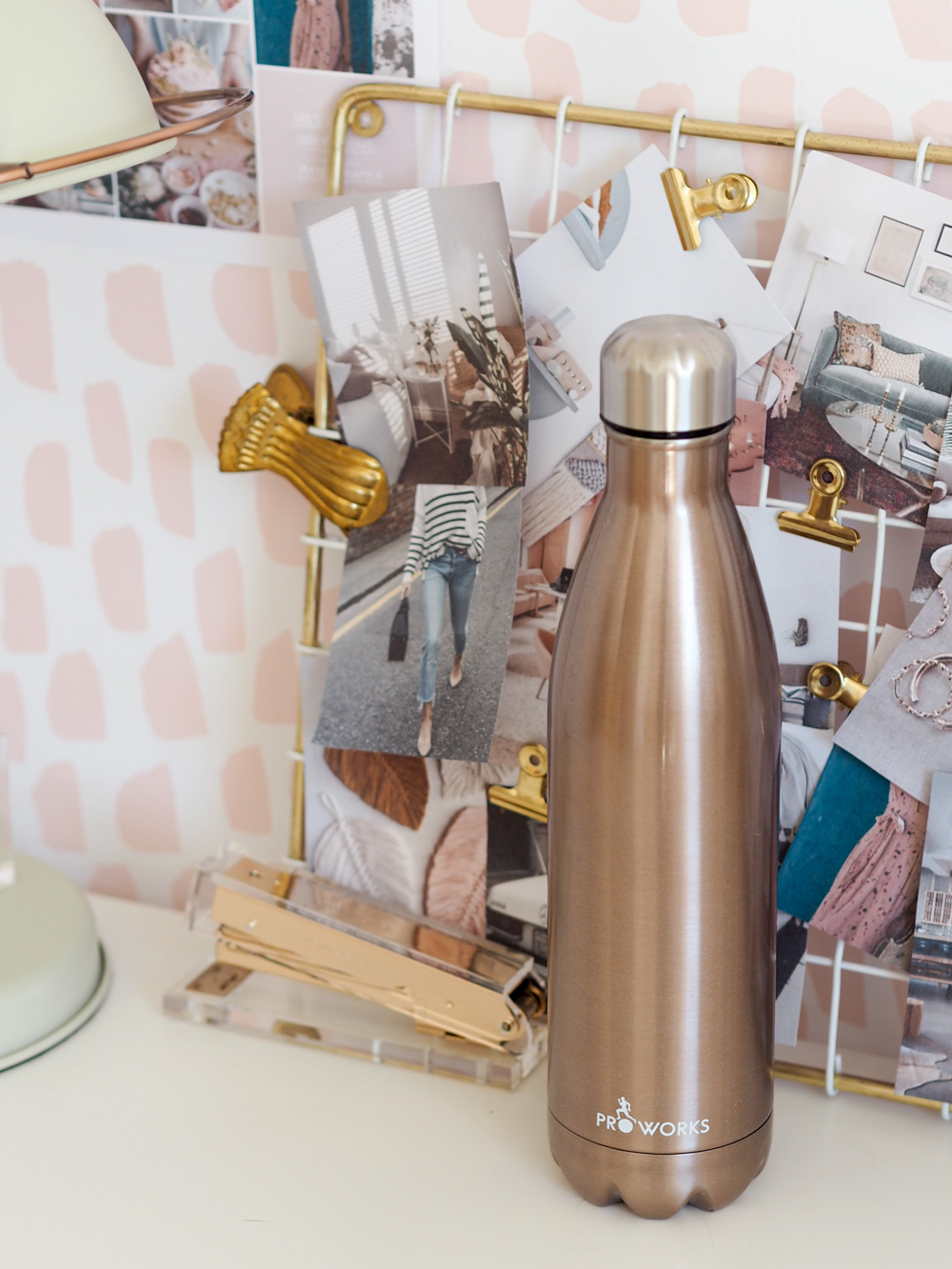 Proworks metal water bottle in gold