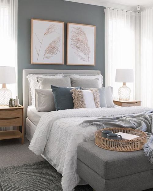 If you're looking for decorating tips for your rental, or you're just looking for interior design inspiration to give your rental bedroom a makeover, my latest post featuring my calm blue grey bedroom moodboard with lots of natural textures like pampas grass prints, linen cushions and Anthropologie accessories, might just inspire you to create the same look.