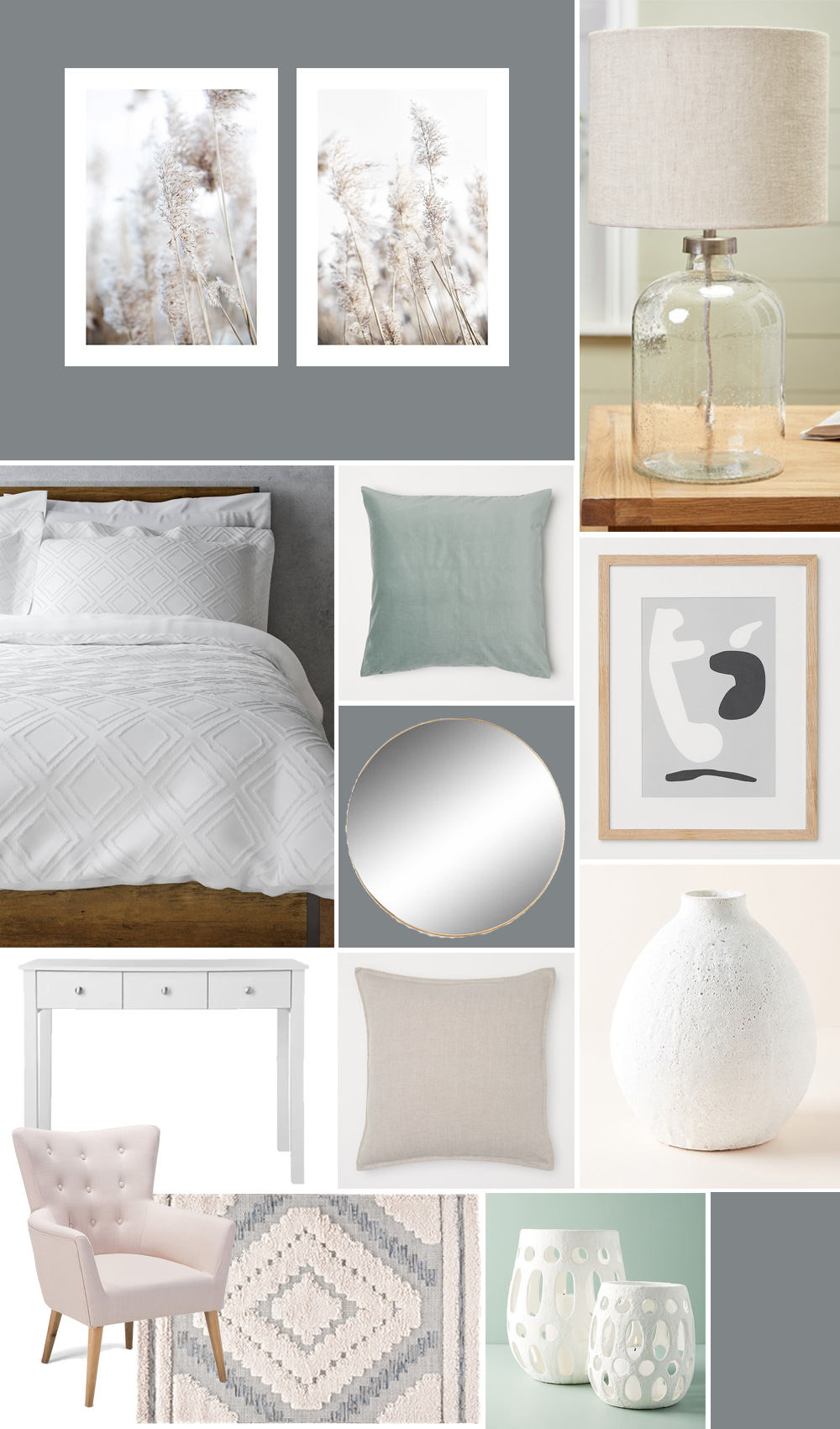 Rental bedroom makeover plans and moodboard