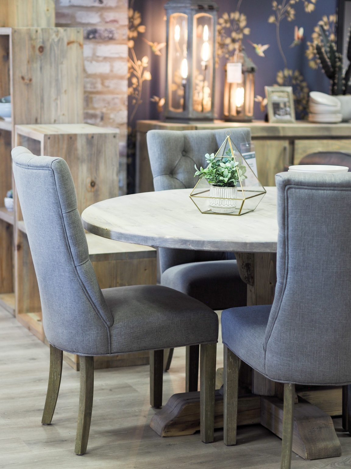 Sienna 140cm Round Reclaimed Wood Dining Table & 4 Grenada Chairs | Housing Units